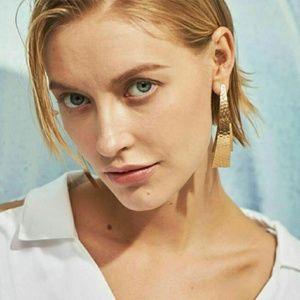 Dangle Geometric Hammered Earrings